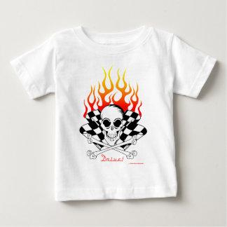 Camiseta Para Bebê Movimentação! Crânio, ossos cruzados, competindo