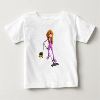 Camiseta Para Bebê Mulher dos desenhos animados que usa um vácuo