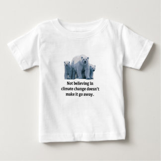 Camiseta Para Bebê Não acreditando nas alterações climáticas
