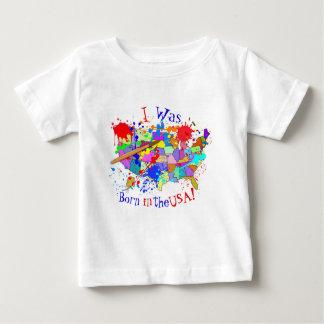 Camiseta Para Bebê Nascer nos EUA! Edição fresca da pintura