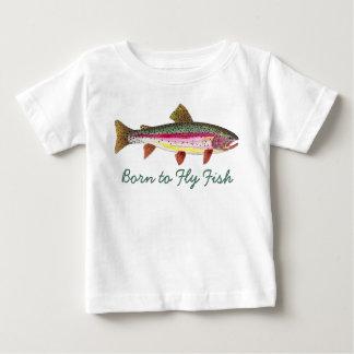 """Camiseta Para Bebê """"Nascer para voar pesca com mosca bonito da truta"""