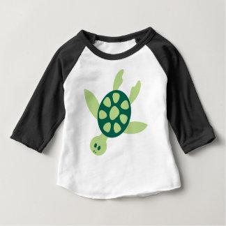 Camiseta Para Bebê Natação da tartaruga verde