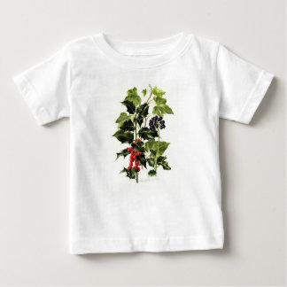 Camiseta Para Bebê Natal do design do azevinho e da hera