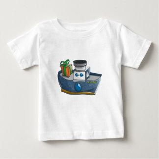Camiseta Para Bebê Navio a vapor azul e branco dos desenhos animados
