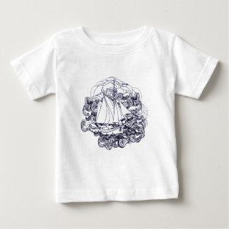 Camiseta Para Bebê Navio colado na tempestade