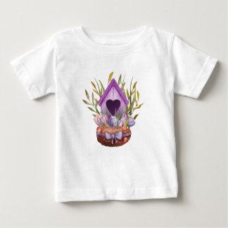 Camiseta Para Bebê Ninho bonito do primavera da aguarela