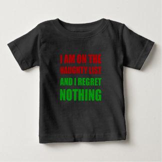 Camiseta Para Bebê No pesar impertinente da lista do papai noel do