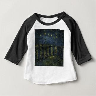 Camiseta Para Bebê Noite estrelado de Vincent van Gogh sobre a arte