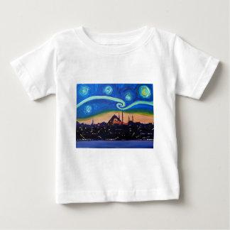 Camiseta Para Bebê Noite estrelado em Istambul Turquia