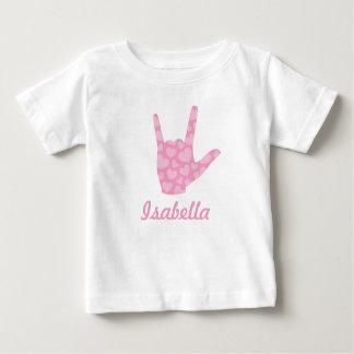 Camiseta Para Bebê Nome da menina dos corações do rosa do linguagem