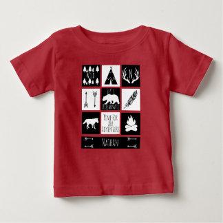Camiseta Para Bebê Nome rústico dos animais & do bebê da região