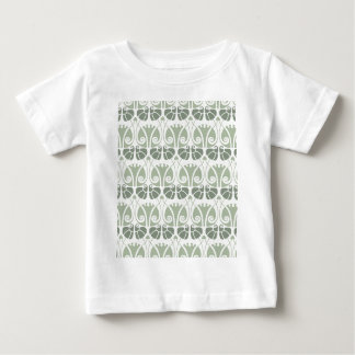 Camiseta Para Bebê Nouveau da arte, cerceta, bege, floral, époque do