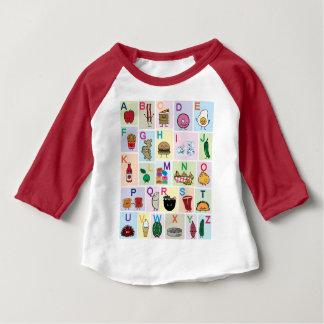 Camiseta Para Bebê O alfabeto de ABC que aprende alimentos felizes