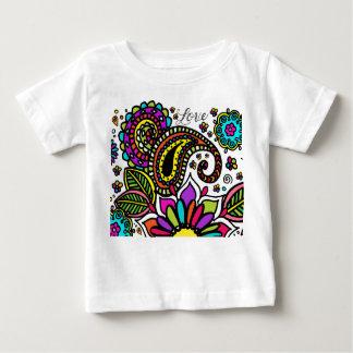 Camiseta Para Bebê O amor colorido corajoso Paisley da flor caçoa a