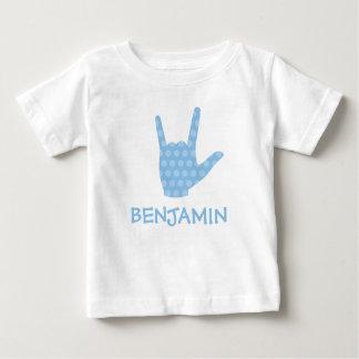 Camiseta Para Bebê O azul do linguagem gestual do ASL eu te amo
