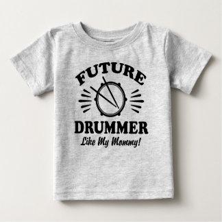 Camiseta Para Bebê O baterista futuro gosta de minhas mamães