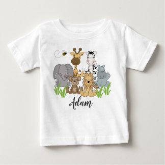Camiseta Para Bebê O bebê dos animais da selva do safari caçoa o nome