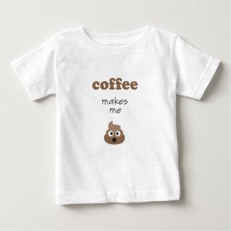 Camiseta Para Bebê O café engraçado faz-me a frase do emoji do