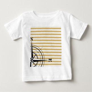 Camiseta Para Bebê O compasso náutico NSEW listra o preto do Taupe do