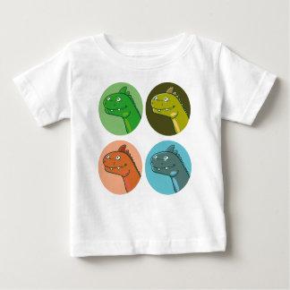Camiseta Para Bebê o dinossauro engraçado da cor do quadrilátero