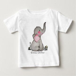 Camiseta Para Bebê O elefante bonito do bebê da aguarela com cora &