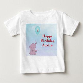 Camiseta Para Bebê O elefante feito sob encomenda do bebê & Balloon o