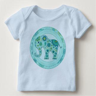 Camiseta Para Bebê O elefante floresce a cerceta FORA DE ESTOQUE