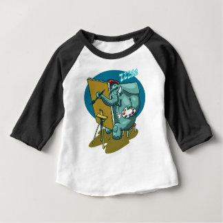 Camiseta Para Bebê o elefante o pintor é desenhos animados engraçados