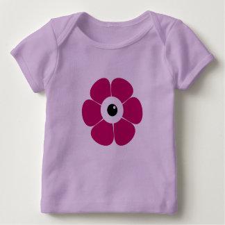 Camiseta Para Bebê o olho da flor cor-de-rosa