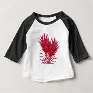 Camiseta Para Bebê O pavão cor-de-rosa bonito empluma-se o teste