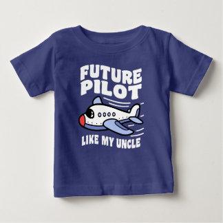 Camiseta Para Bebê O piloto futuro gosta de meu tio
