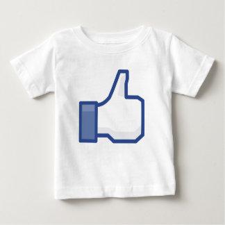 Camiseta Para Bebê O polegar acima do facebook GOSTA do tshirt dos