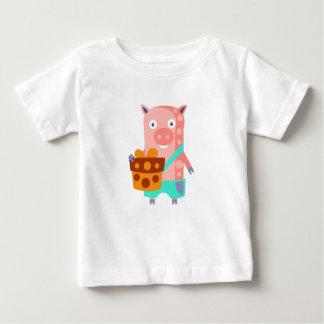 Camiseta Para Bebê O porco com partido atribui Funky estilizado