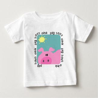 Camiseta Para Bebê O porco diz Oink t-shirt e presentes