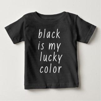 Camiseta Para Bebê O preto é meu logotipo afortunado da cor engraçado