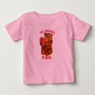 Camiseta Para Bebê O Snuggle é urso real com coração