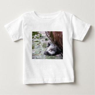 Camiseta Para Bebê O sono macio do gato agacha-se no assoalho