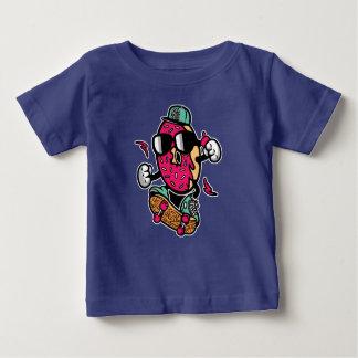 Camiseta Para Bebê O t-shirt do bebê do patinador da rosquinha