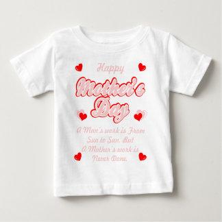 Camiseta Para Bebê O trabalho das mães do feliz dia das mães é nunca