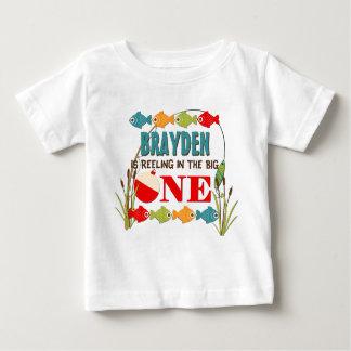 Camiseta Para Bebê O um aniversário de pesca grande dos meninos do