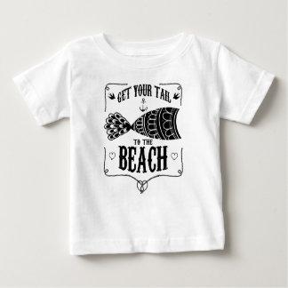 Camiseta Para Bebê Obtenha sua cauda à praia