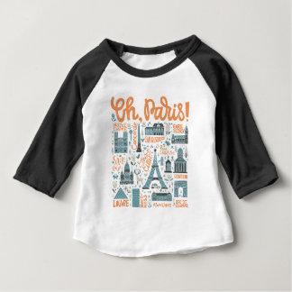 Camiseta Para Bebê Oh, Paris! tipografia da cidade de  