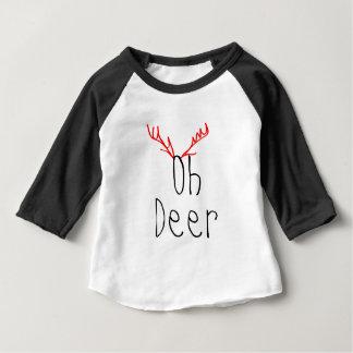 Camiseta Para Bebê Oh t-shirt do Raglan do bebê do Natal dos cervos