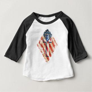 Camiseta Para Bebê Olhar cristão do vintage da cruz da fé da bandeira