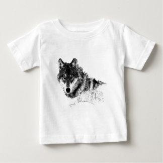 Camiseta Para Bebê Olhos inspirados brancos pretos do lobo