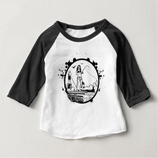 Camiseta Para Bebê Ondinhas & mordidelas que pescam o logotipo do