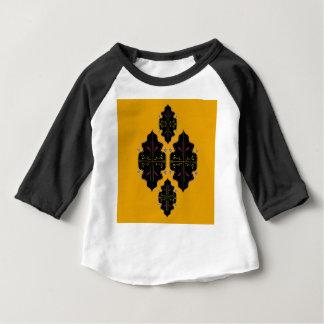 Camiseta Para Bebê Ornamento luxuosos do preto e do ouro