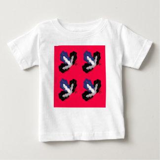 Camiseta Para Bebê Orquídeas rosas vermelha selvagens com preto