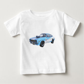 Camiseta Para Bebê os anos 70 azuis e carro branco do músculo