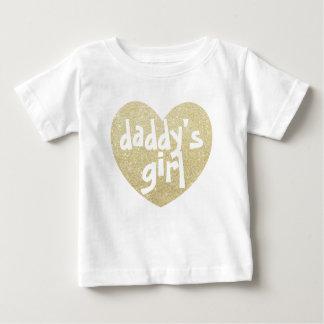 Camiseta Para Bebê Ouro do coração do Brilho-Impressão da menina do